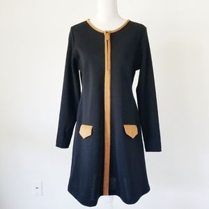 Andrea Jovine Vintage Dress Fine Wool Black Zip L